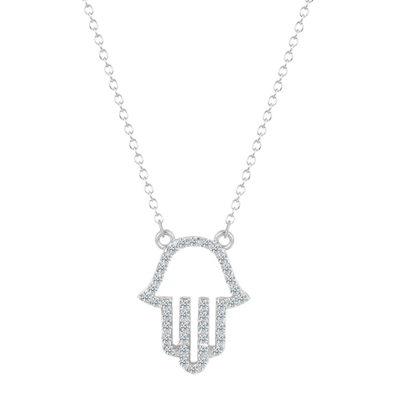 NEW Hamsa Hand of Fatima Palm Pendant Charm Silver Necklace Choker Chain Jewelry